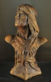 Native American Warrior Bust Sculpture by Attila