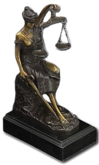 Seated Lady Justice Statue on Marble Base