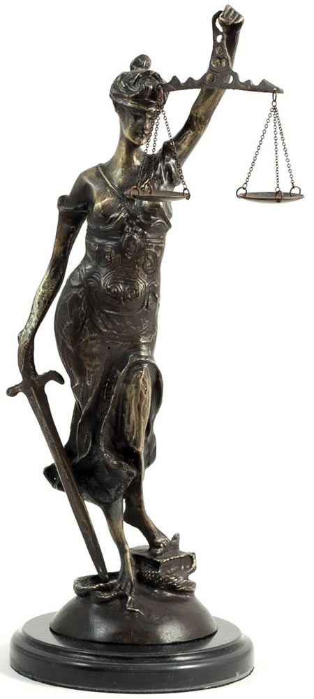 Bronze Blind Lady Justice Statue- 16.5 Inch