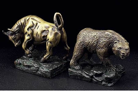 Bon Wall Street Bronze Bull And Bear Bookends