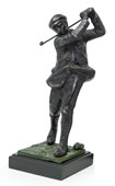 Bronzed Metal Golfer on Marble Base- 14 Inch