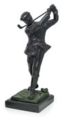 Bronzed Metal Golfer on Marble Base- 12 Inch