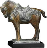 Bronze Tang Horse Statue on Marble Base
