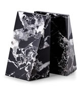 Black Zebra Marble Wedge Bookends