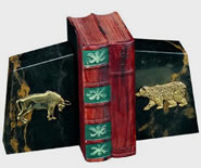 Stock Market Bull and Bear Bookends, Marble