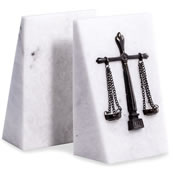 Legal Emblem Bookends- White Marble