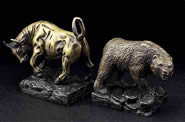 Wall Street Bronze Bull and Bear Bookends