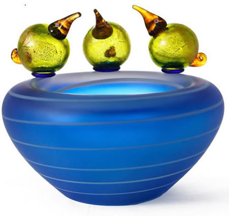 Pool Bowl with Birds, Blue- by Borowski