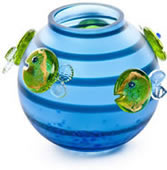 Aqua Fish Vase, Blue/Lime Green- by Borowski