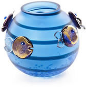 Aqua Fish Vase, Blue/Purple- by Borowski