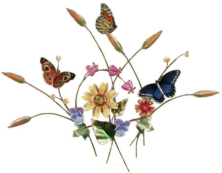 Butterfly In Flower Meadow- Wall Sculpture