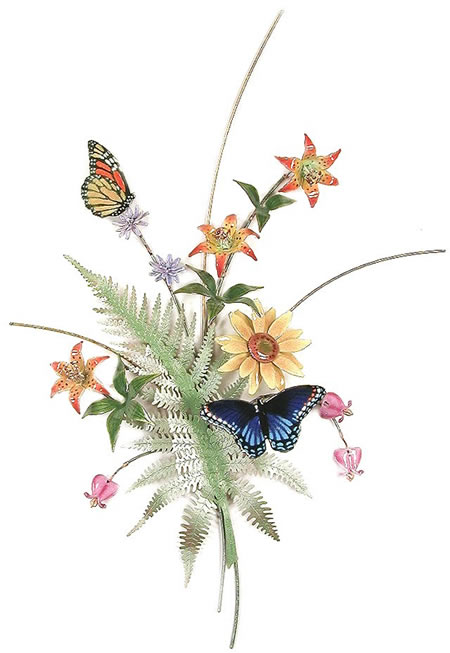 Butterflies with Fern, Lilies, Sunflower (Wall Sculpture)