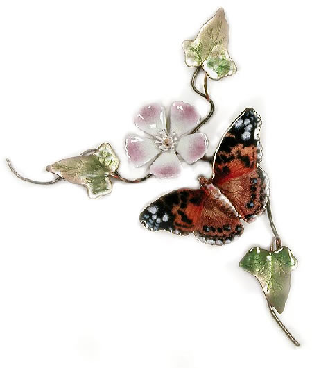 American Painted Lady Butterfly Floral (Wall Sculpture)