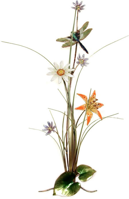 Wildflower Garden With Dragonfly Wall Sculpture, Small