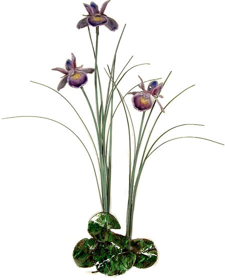 Triple Purple Iris with Patina Grass