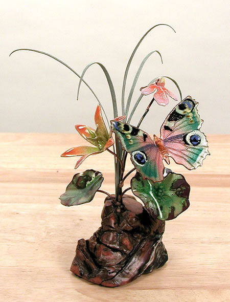 Butterfly with Flowers Tabletop Sculpture