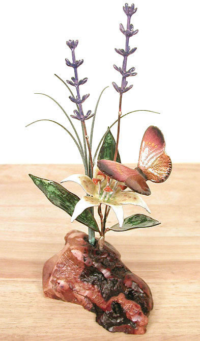 Butterfly, Lily and Lavender Tabletop Sculpture