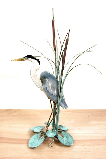 Blue Heron In Cattails (Facing Left) Tabletop Sculpture