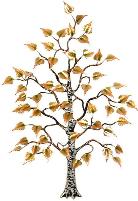 Birch Tree With Enameled Leaves Wall Sculpture