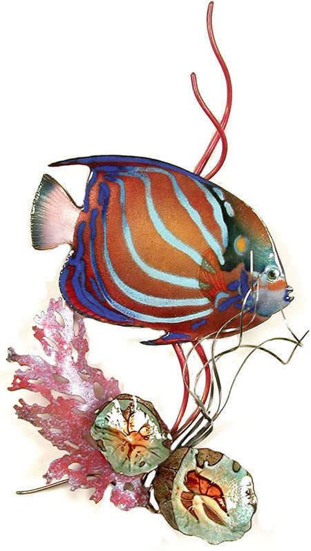 Blue Ring Angelfish in Coral Wall Sculpture