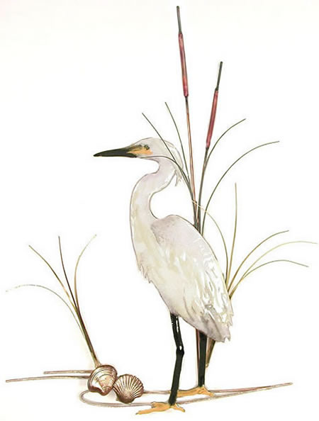 Snowy Egret with Shells Wall Sculpture