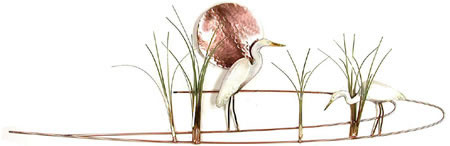Egret with Grasses Wall Sculpture