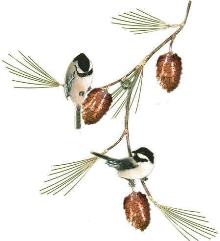 Chickadees with Pine Bough Wall Sculpture
