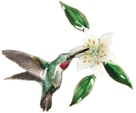Broad Tailed Hummingbird with Wood Lily Flower Wall Sculpture