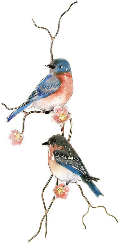Two Bluebirds On Peach Flower Branch Wall Sculpture