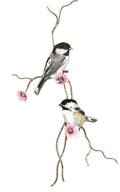 Two Chickadees On Pink Flower Branch Wall Sculpture