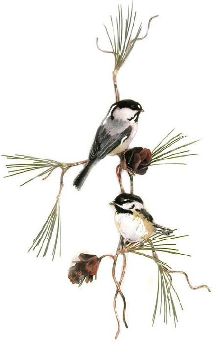 Two Chickadees with 3D Pine Cones
