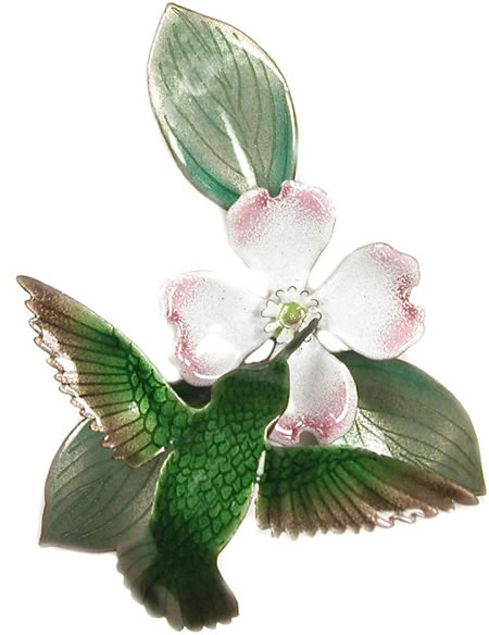 Hummingbird With White Dogwood Wall Sculpture Bovano Of