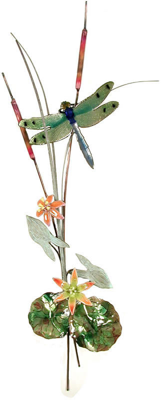Green Winged Dragonfly with Orange Flowers Wall Sculpture