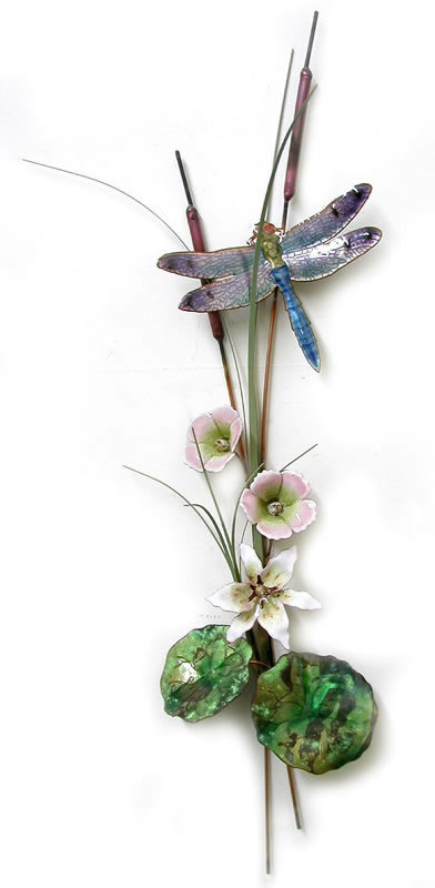 Blue Dragonfly With Lily And Mallow Wall Sculpture