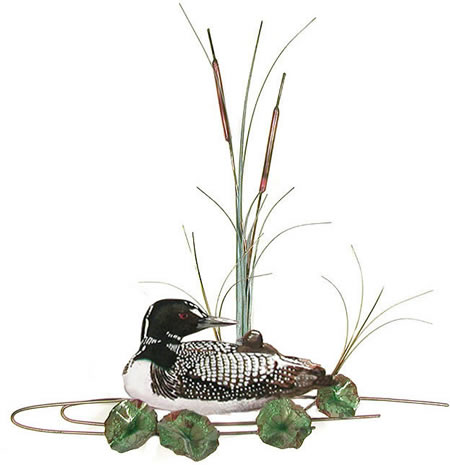 Loon (Large) With Chicks And Lily Pads Wall Sculpture