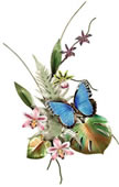 Blue Morpho Butterfly on Orchid, Wall Sculpture