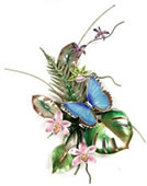 Blue Morpho Butterfly with Enameled Fern