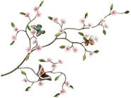 Cherry Blossom Branch with Butterflies Wall Sculpture