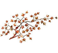 Maple Branch With Autumn Enameled Leaves Wall Sculpture