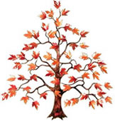 Maple Tree With Red Enameled Leaves Wall Sculpture