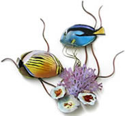Flagtail Surgeonfish and Blacktail Butterflyfish Wall Sculpture