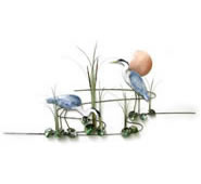 Heron Pair With Copper Sun And Cattails Wall Sculpture