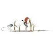 Large Heron Pair With Copper Sun Wall Sculpture