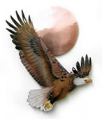 Bald Eagle With Copper Sun Wall Sculpture