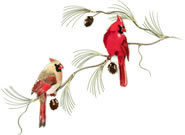 Cardinal Pair on Pine Wall Sculpture