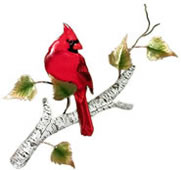 Cardinal on Birch Wall Sculpture