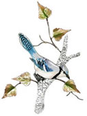 Blue Jay on Birch Wall Sculpture