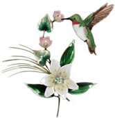 Hummingbird with Wood Lily Wall Sculpture