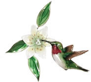 Hummingbird and Wood Lily Wall Sculpture