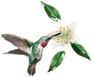 Broad Tailed Hummingbird with Wood Lily FlowerWall Sculpture